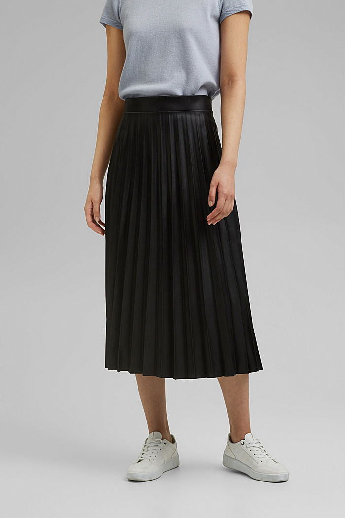 Pleated faux leather skirt, BLACK, detail image number 0