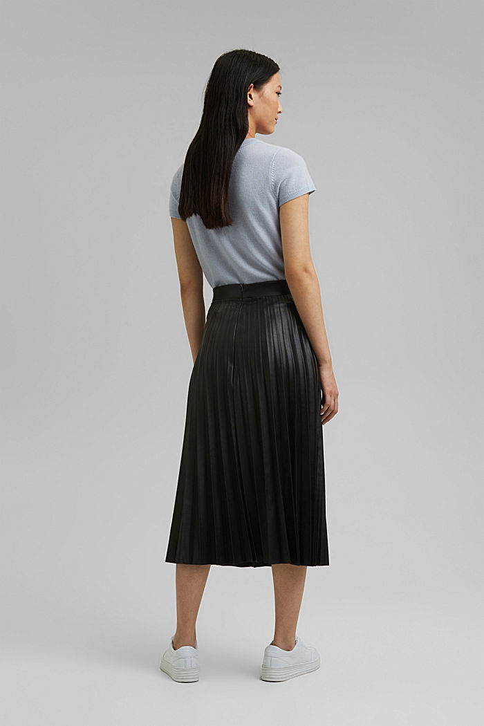 Pleated faux leather skirt, BLACK, detail image number 3