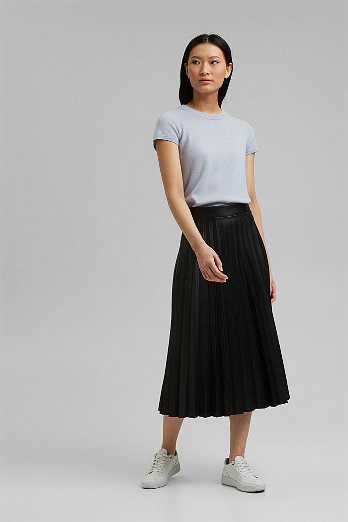 Pleated faux leather skirt, BLACK, detail image number 1