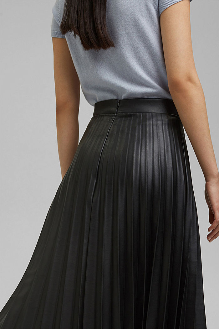 Pleated faux leather skirt, BLACK, detail image number 2