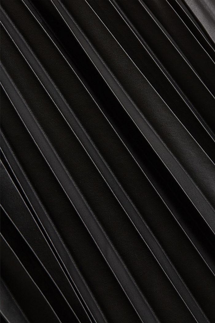 Falda plisada en polipiel, BLACK, detail image number 4