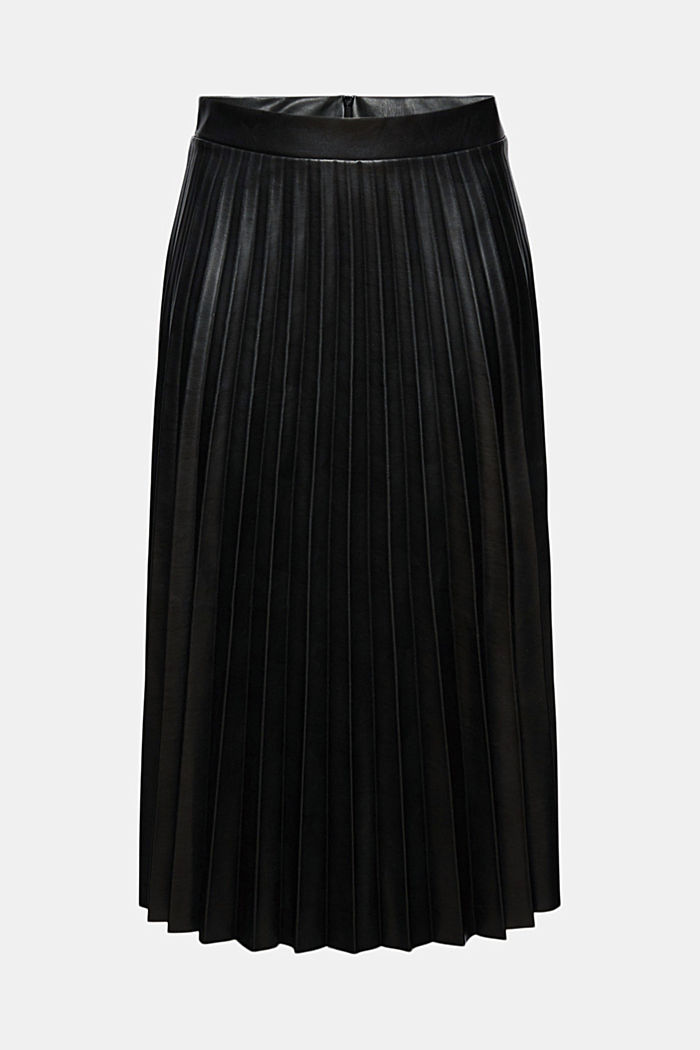 Pleated faux leather skirt, BLACK, detail image number 5