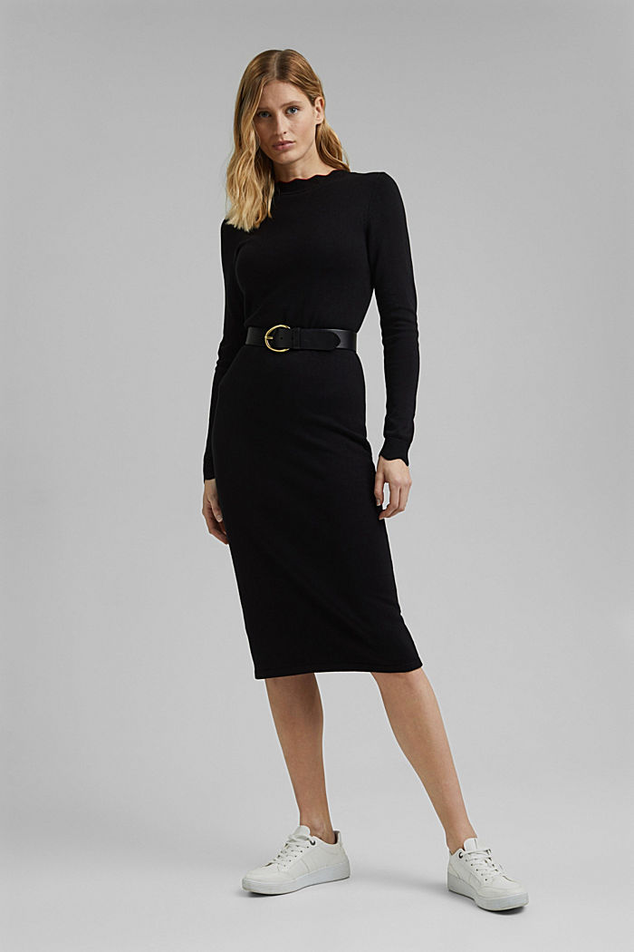 Knit dress with LENZING™ ECOVERO™, BLACK, detail image number 1