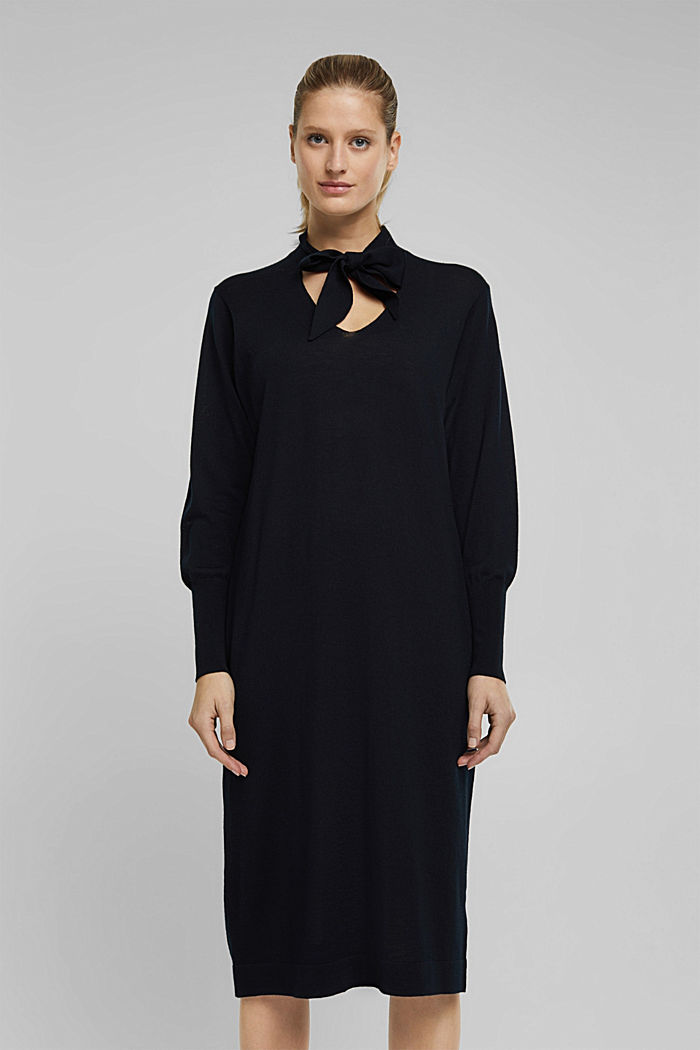 Knitted dress made of 100% merino wool, BLACK, detail image number 0