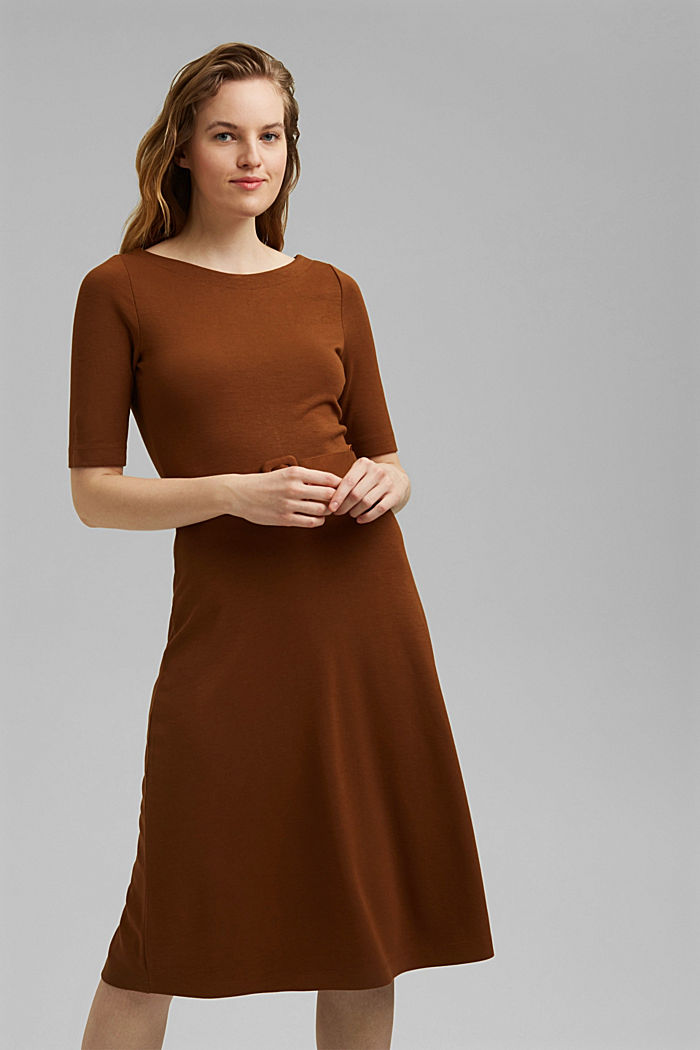 Jersey dress with LENZING™ ECOVERO™, TOFFEE, detail image number 0