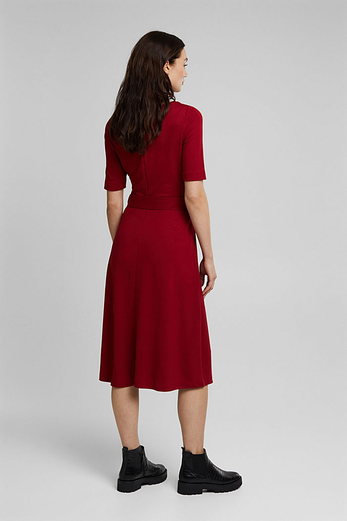 Jersey dress with LENZING™ ECOVERO™, DARK RED, detail image number 2