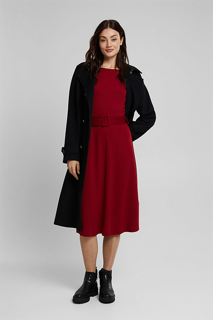 Jersey dress with LENZING™ ECOVERO™, DARK RED, detail image number 1