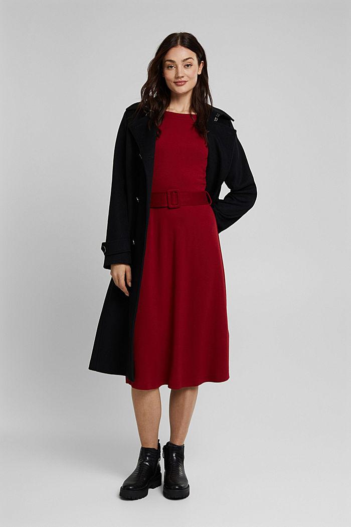 Jersey-Kleid mit LENZING™ ECOVERO™, DARK RED, detail image number 1