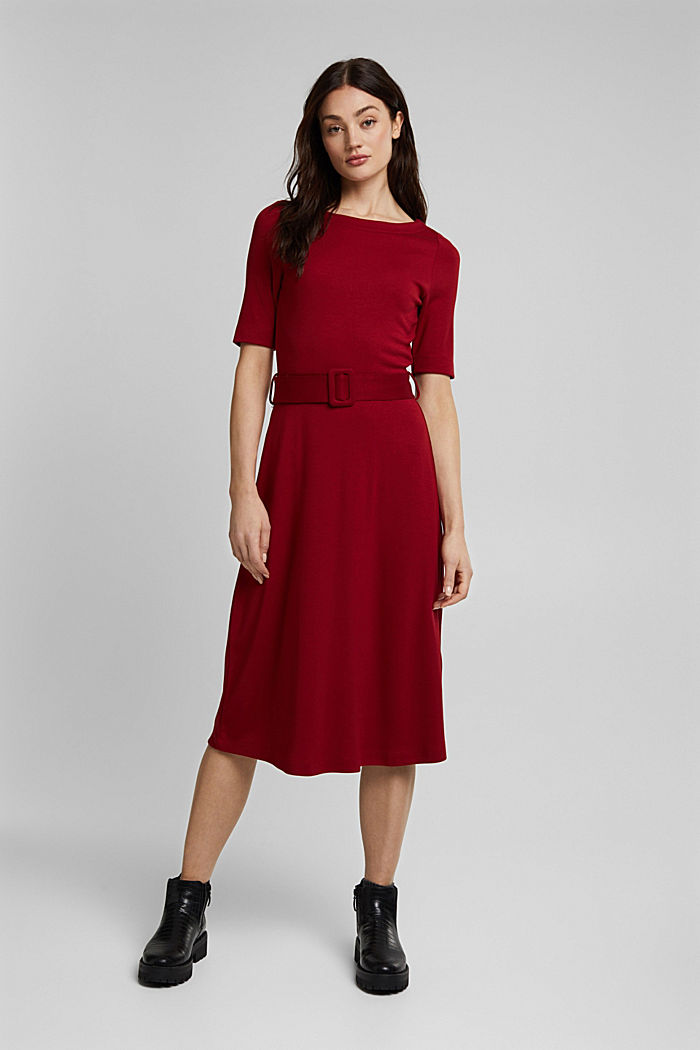 Jersey dress with LENZING™ ECOVERO™, DARK RED, detail image number 5