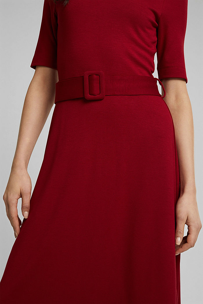 Jersey dress with LENZING™ ECOVERO™, DARK RED, detail image number 3