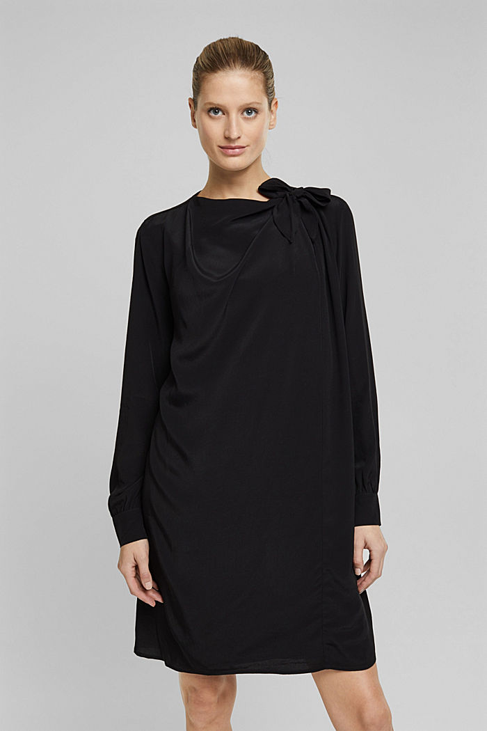 Dress with LENZING™ ECOVERO™, BLACK, overview