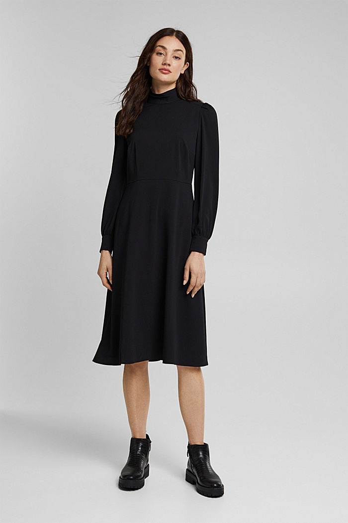 Midi-jurk met opstaande kraag