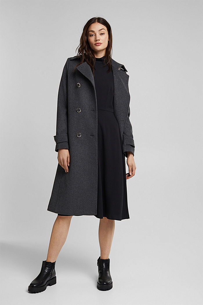 Midi dress with a stand-up collar, BLACK, detail image number 1