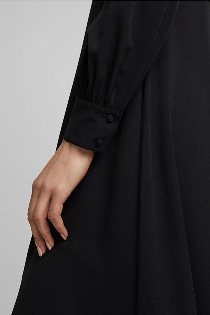 Midi dress with a stand-up collar, BLACK, detail image number 3