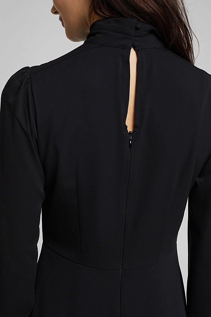 Midi dress with a stand-up collar, BLACK, detail image number 5