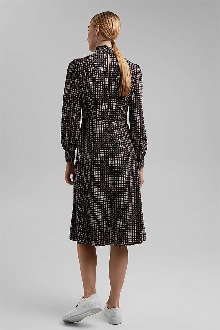 Recycled: Midi dress in patterned crêpe, BLACK, detail image number 2