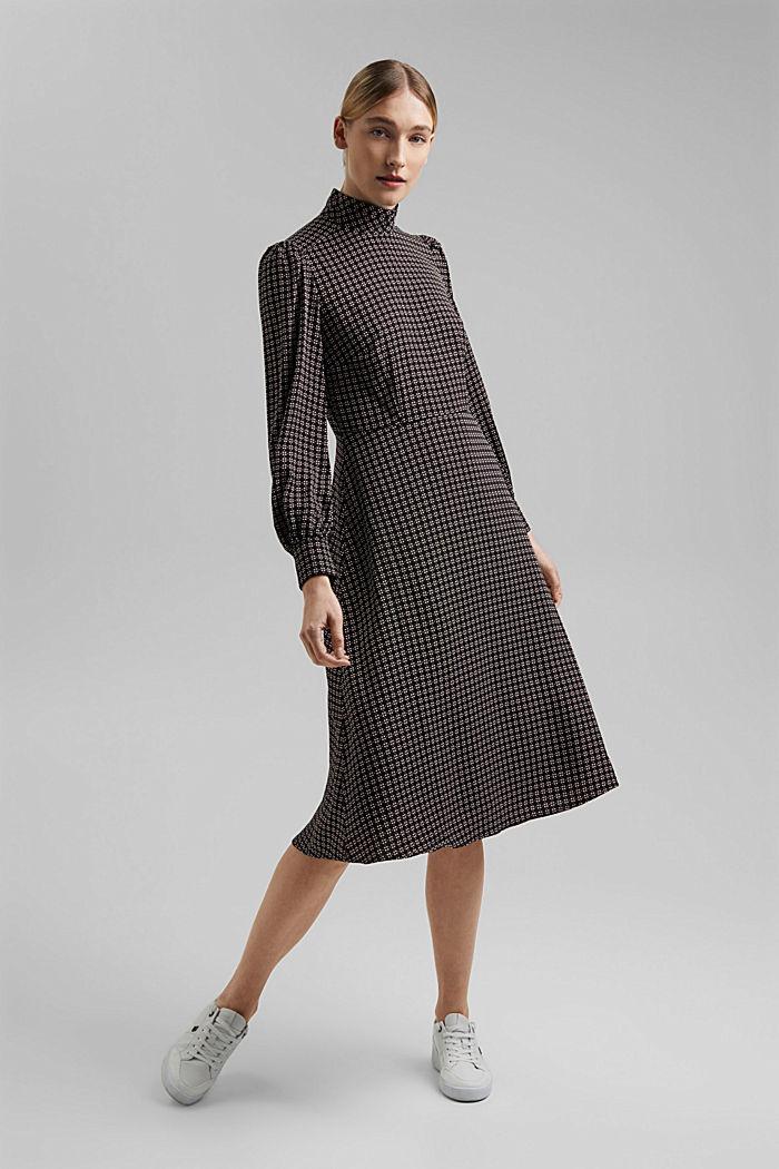 Recycled: Midi dress in patterned crêpe, BLACK, detail image number 5