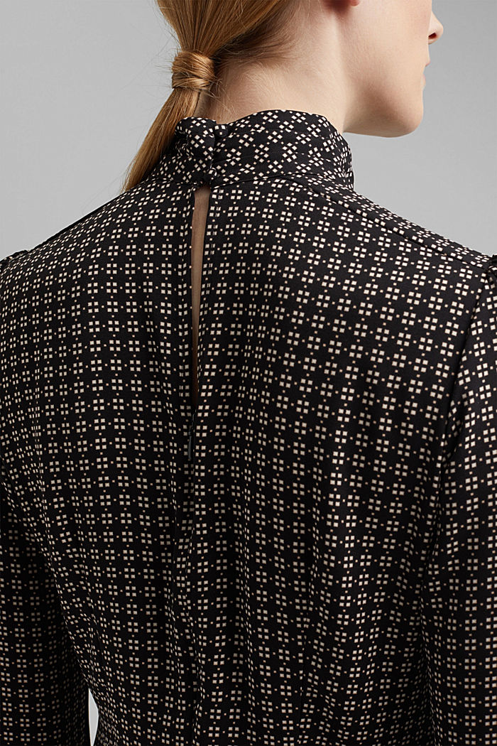 Recycled: Midi dress in patterned crêpe, BLACK, detail image number 6