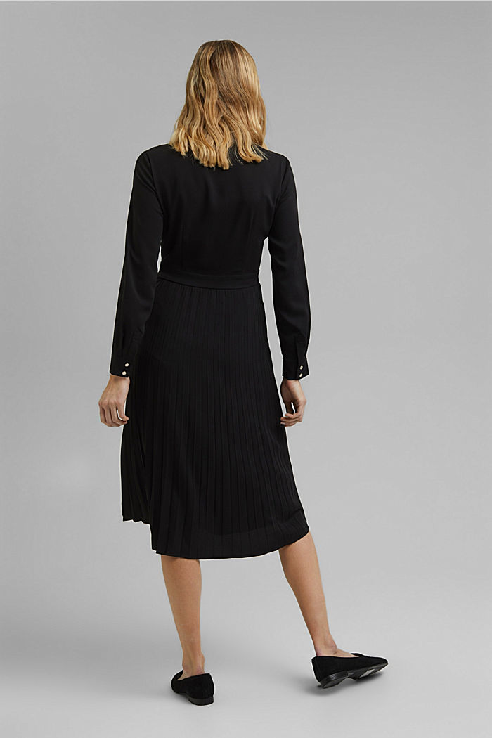 Recycled: pleated midi shirt dress, BLACK, detail image number 2