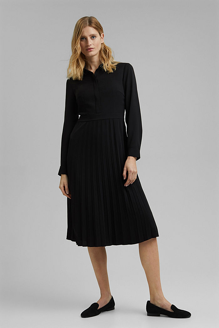 Recycled: pleated midi shirt dress, BLACK, detail image number 1
