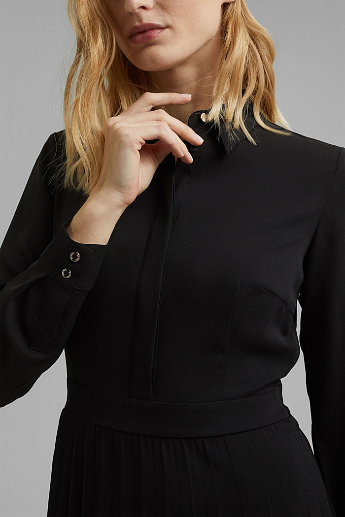 Recycled: pleated midi shirt dress, BLACK, detail image number 3
