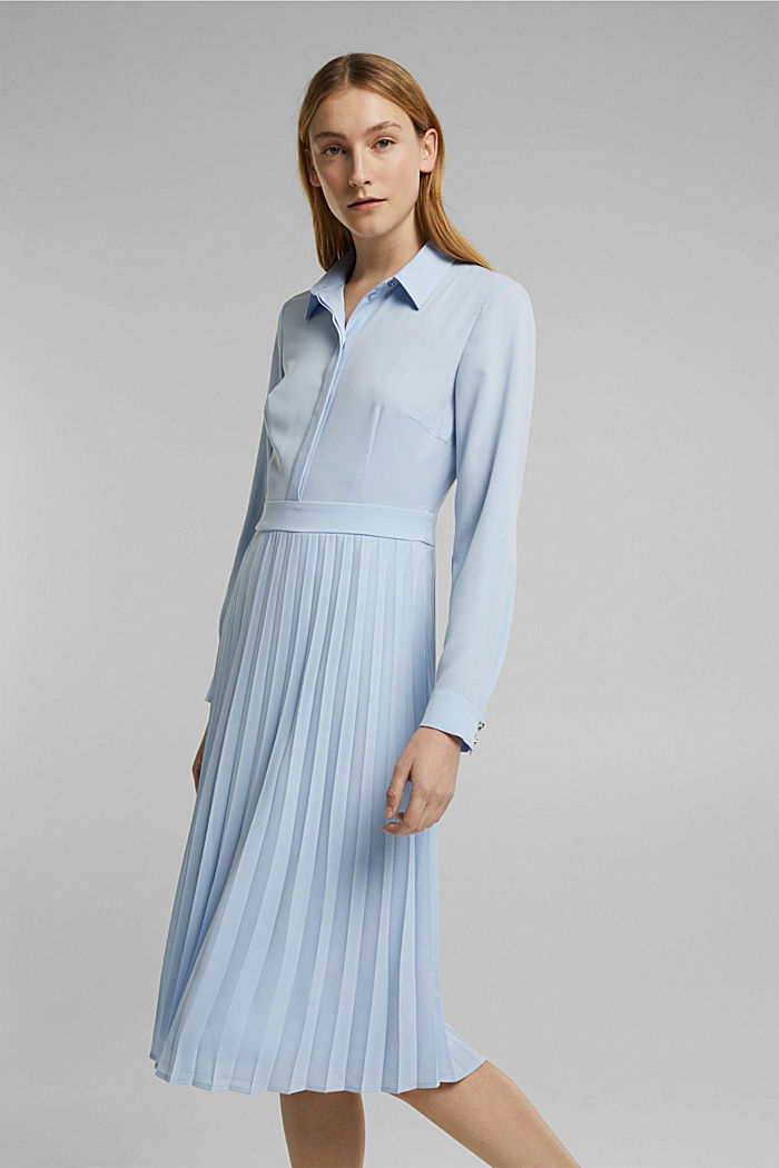 Recycled: pleated midi shirt dress