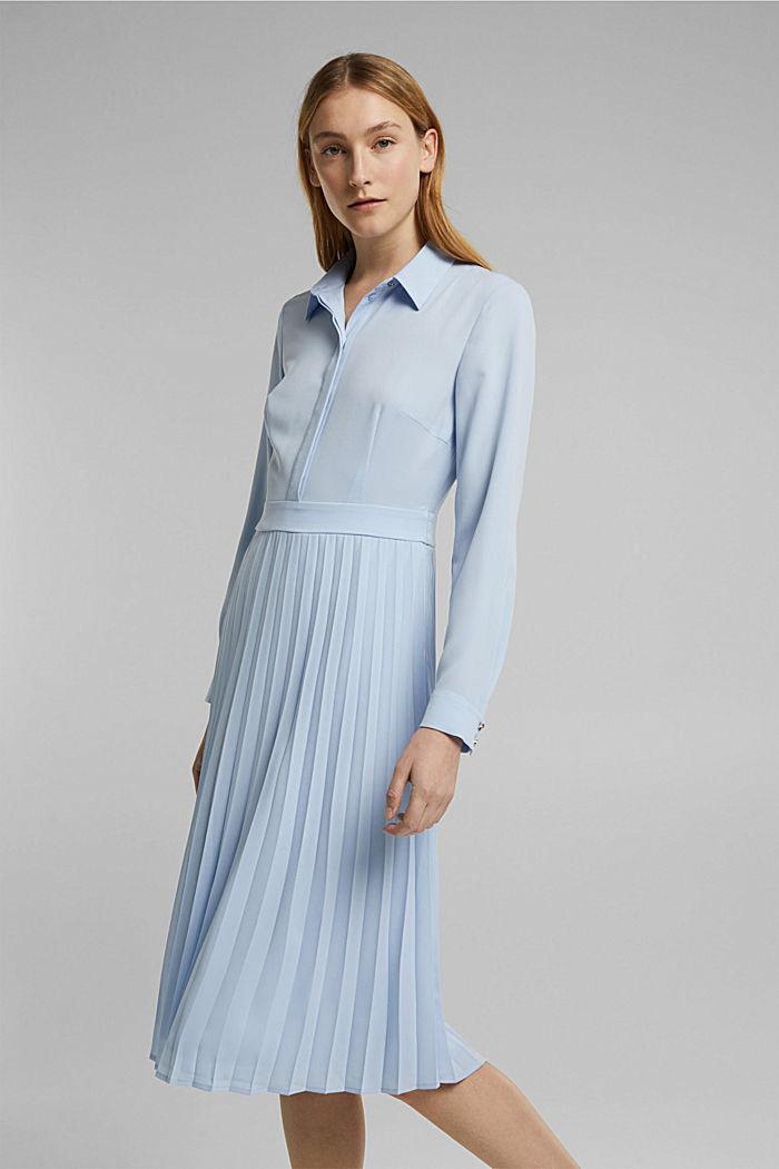 Recycelt: Midi-Hemdblusenkleid mit Plissee, PASTEL BLUE, detail image number 0
