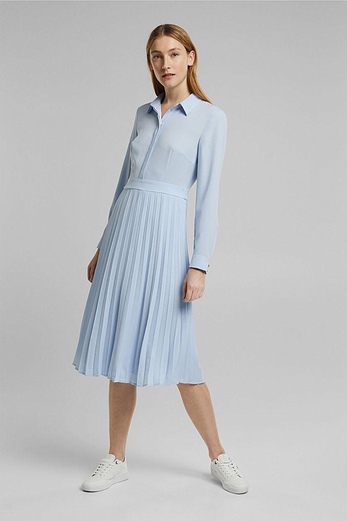 Recycelt: Midi-Hemdblusenkleid mit Plissee, PASTEL BLUE, detail image number 1
