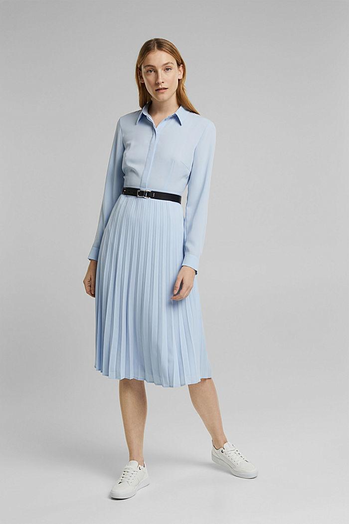 Recycelt: Midi-Hemdblusenkleid mit Plissee, PASTEL BLUE, detail image number 6