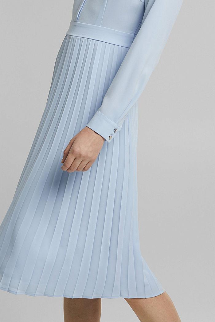 Recycelt: Midi-Hemdblusenkleid mit Plissee, PASTEL BLUE, detail image number 5