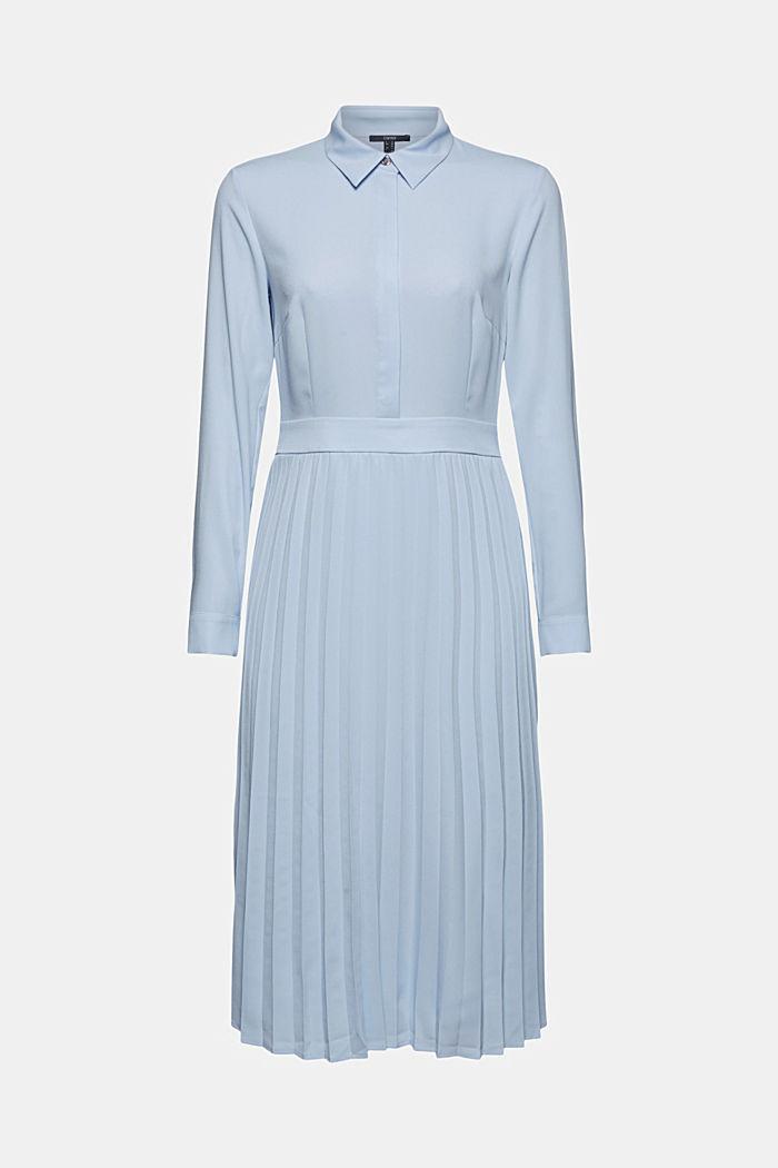 Recycelt: Midi-Hemdblusenkleid mit Plissee, PASTEL BLUE, detail image number 7