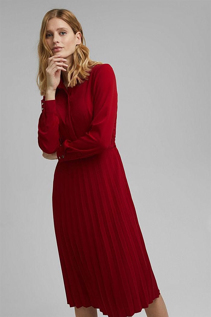 Recycelt: Midi-Hemdblusenkleid mit Plissee, DARK RED, detail image number 0