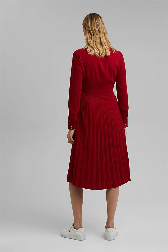Recycelt: Midi-Hemdblusenkleid mit Plissee, DARK RED, detail image number 2