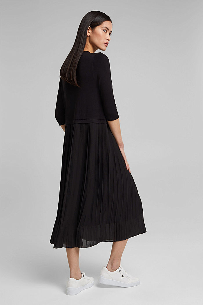 Pleated knitted midi dress in a mix of materials, BLACK, detail image number 2