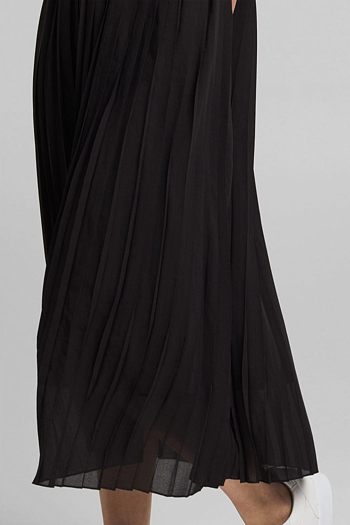 Pleated knitted midi dress in a mix of materials, BLACK, detail image number 3