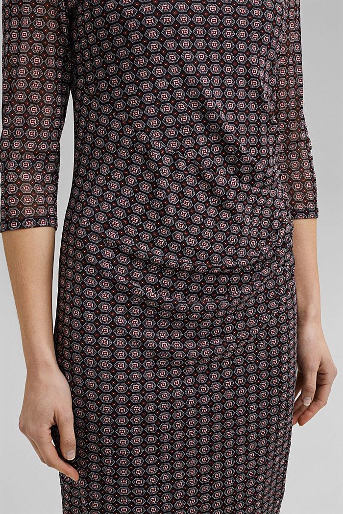 Mesh dress with gathering, BLACK, detail image number 3