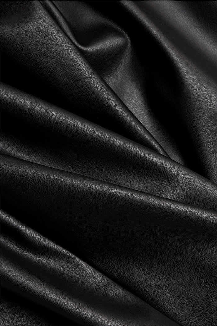 Vestido camisero de polipiel, BLACK, detail image number 4