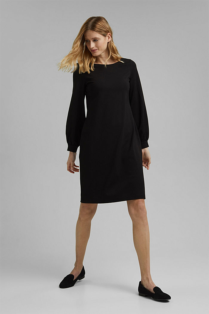 Jersey dress with LENZING™ ECOVERO™, BLACK, detail image number 1