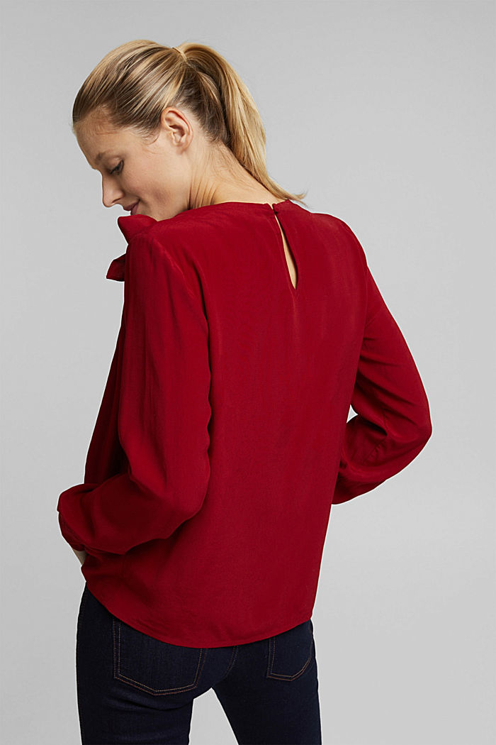 Blouse with LENZING™ ECOVERO™, DARK RED, detail image number 3