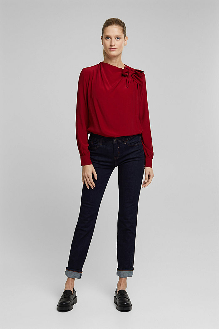 Blouse with LENZING™ ECOVERO™, DARK RED, detail image number 7