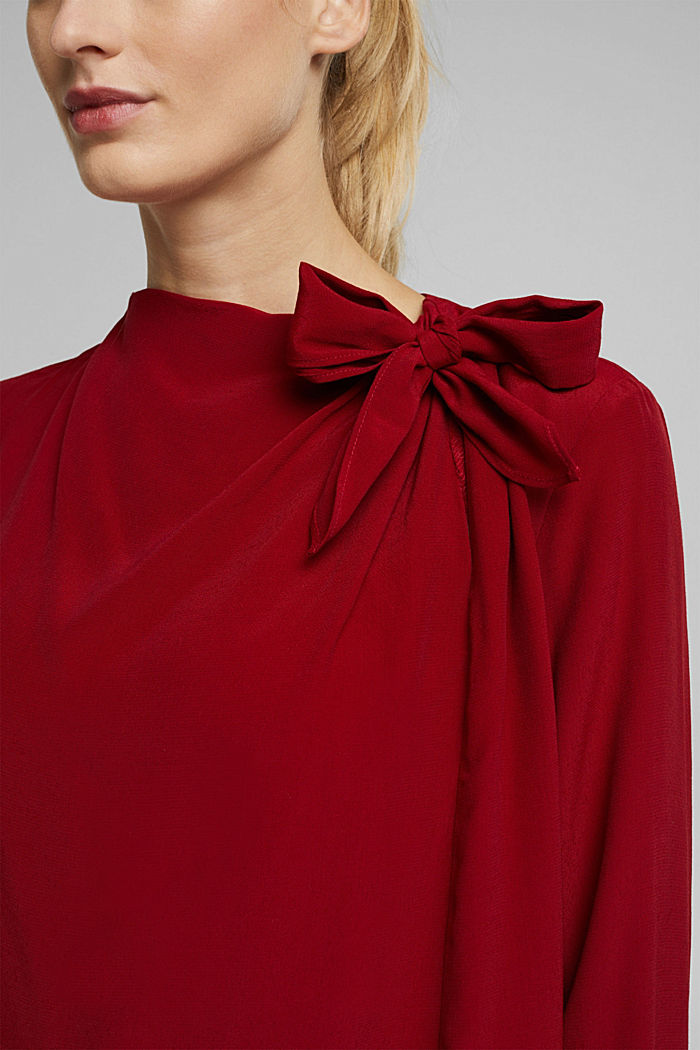 Blouse with LENZING™ ECOVERO™, DARK RED, detail image number 2