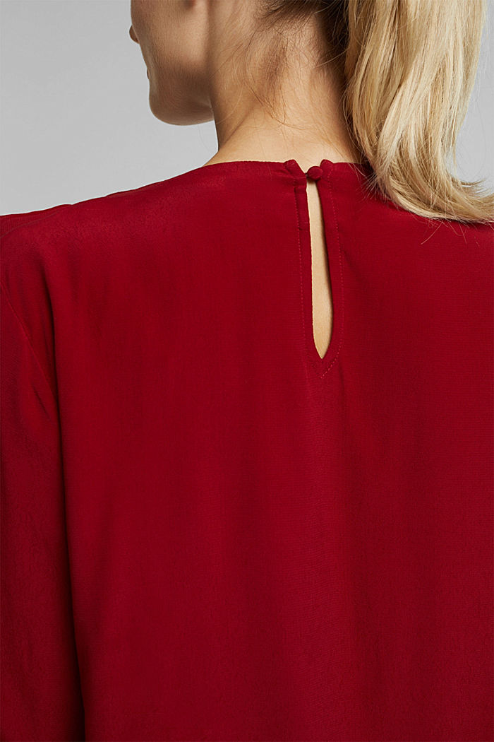 Blouse with LENZING™ ECOVERO™, DARK RED, detail image number 5