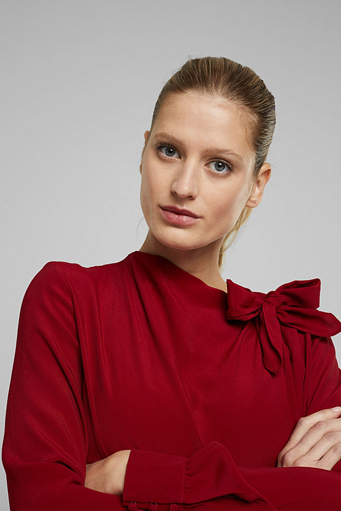 Blouse with LENZING™ ECOVERO™, DARK RED, detail image number 6