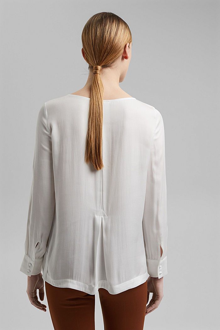 Blouse with a box pleat, OFF WHITE, detail image number 3