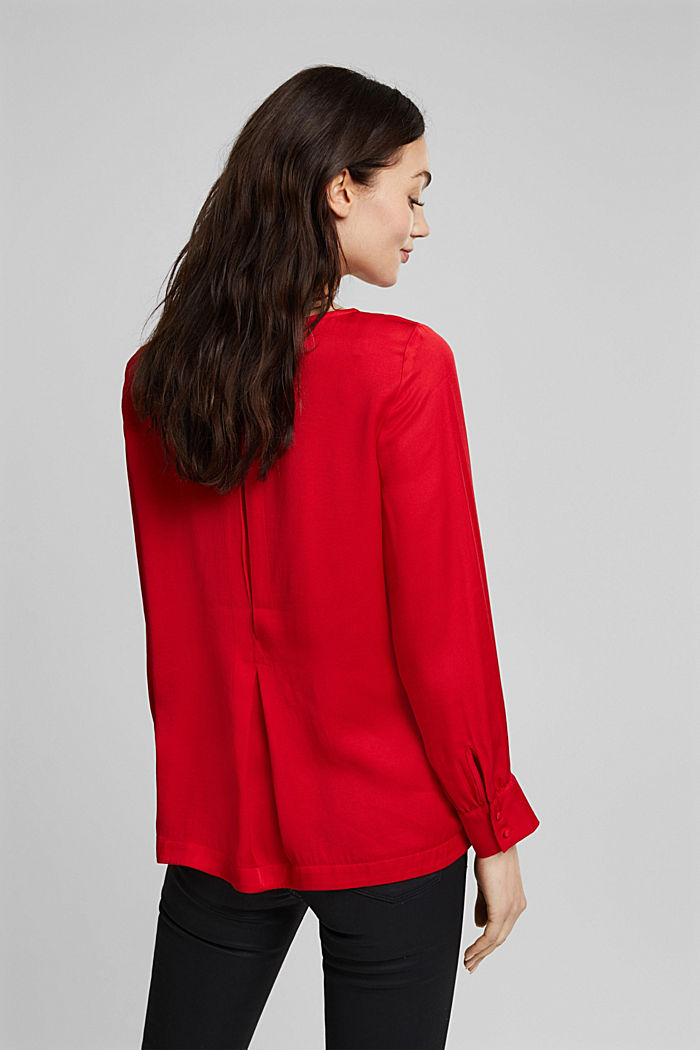 Blouse with a box pleat, RED, detail image number 3