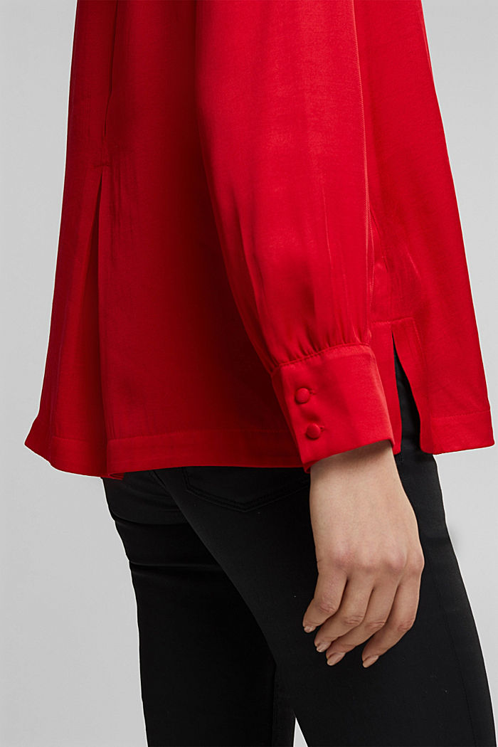Blouse with a box pleat, RED, detail image number 2