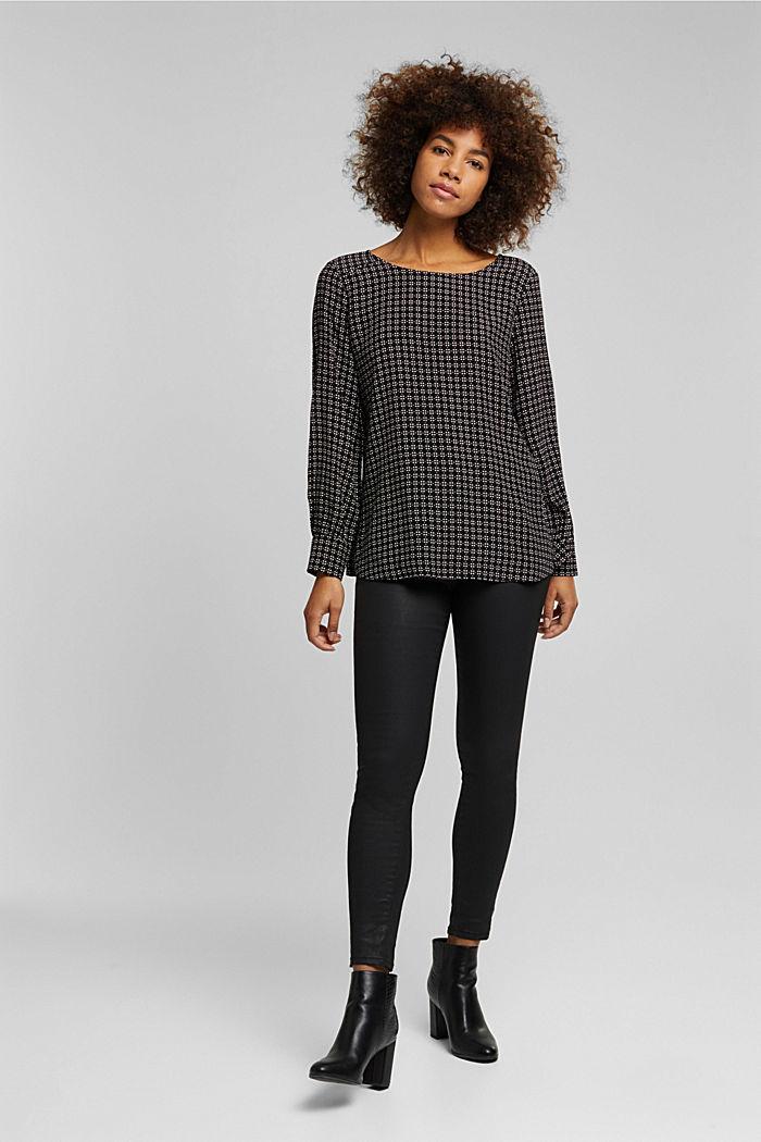 Minimal print blouse, BLACK, detail image number 6