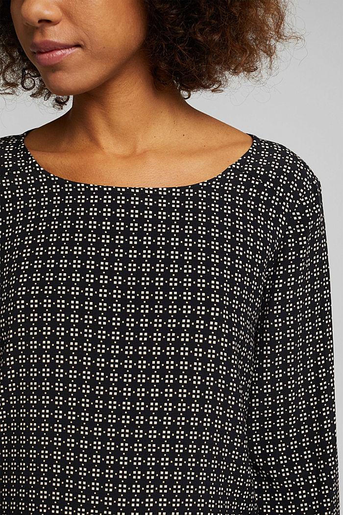 Minimal print blouse, BLACK, detail image number 2