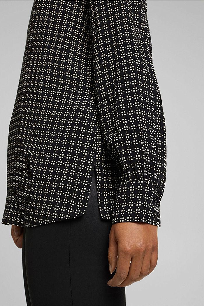 Minimal print blouse, BLACK, detail image number 5