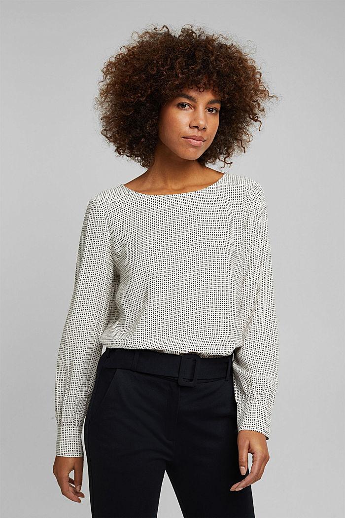 Minimal print blouse, OFF WHITE, detail image number 0
